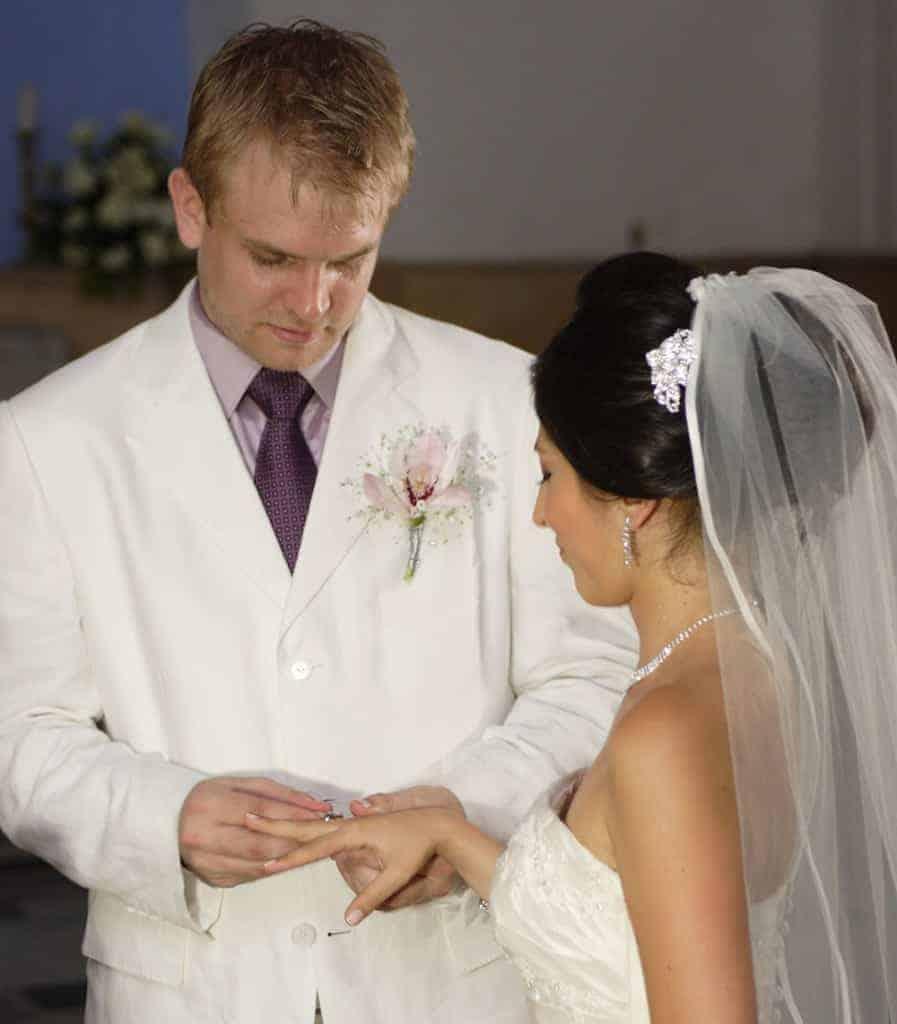 Argolla de Matrimonio en la mano derecha