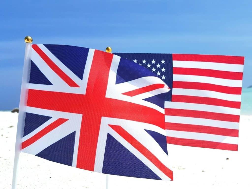 Banderas del Reino Unido y Estados Unidos