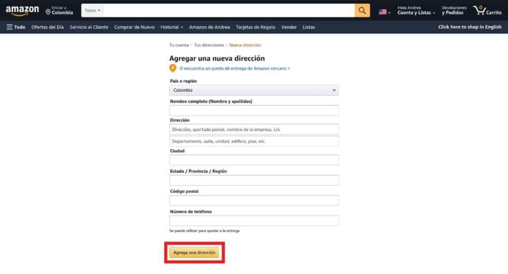 Agregar dirección en Amazon