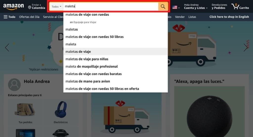 Buscar productos en Amazon