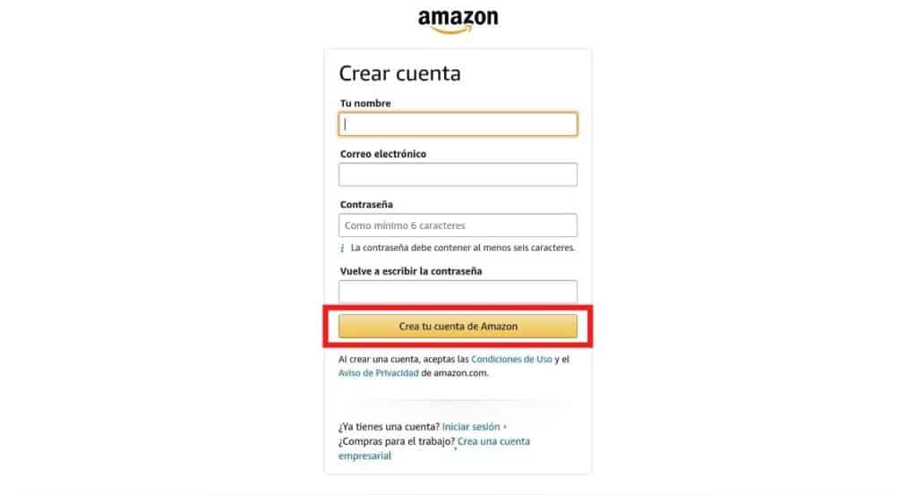 Crear una cuenta en Amazon