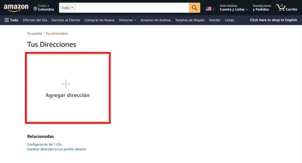 Agregar direcciones en Amazon