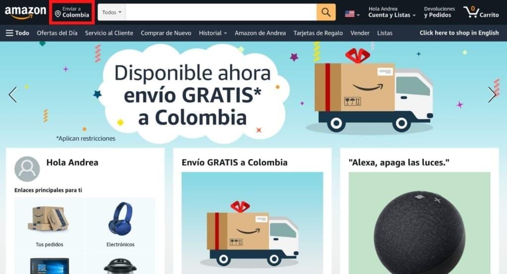 Configurar dirección de envío en Amazon