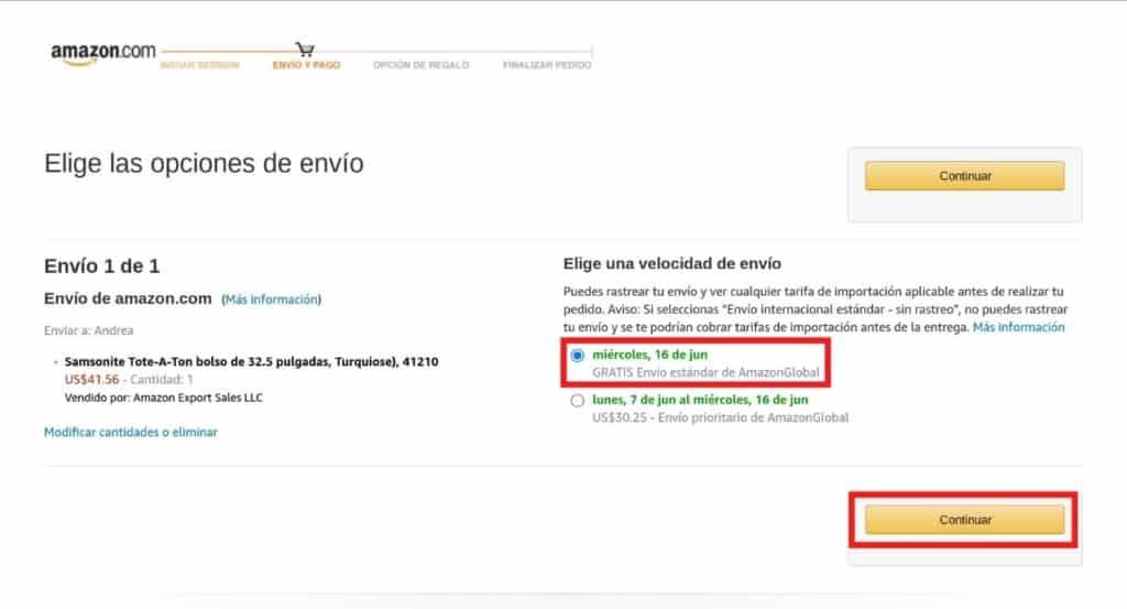 Opciones de envío en Amazon desde Colombia