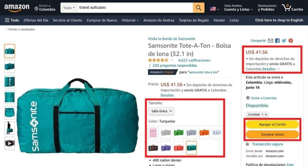 Página de producto en Amazon