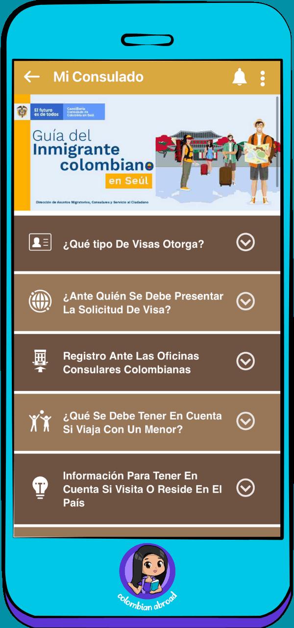 Mi Consulado App - Guía del inmigrante colombiano en Seúl