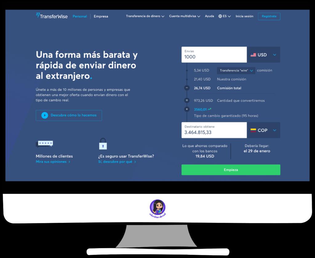 TransferWise enviar dinero de USA a Colombia