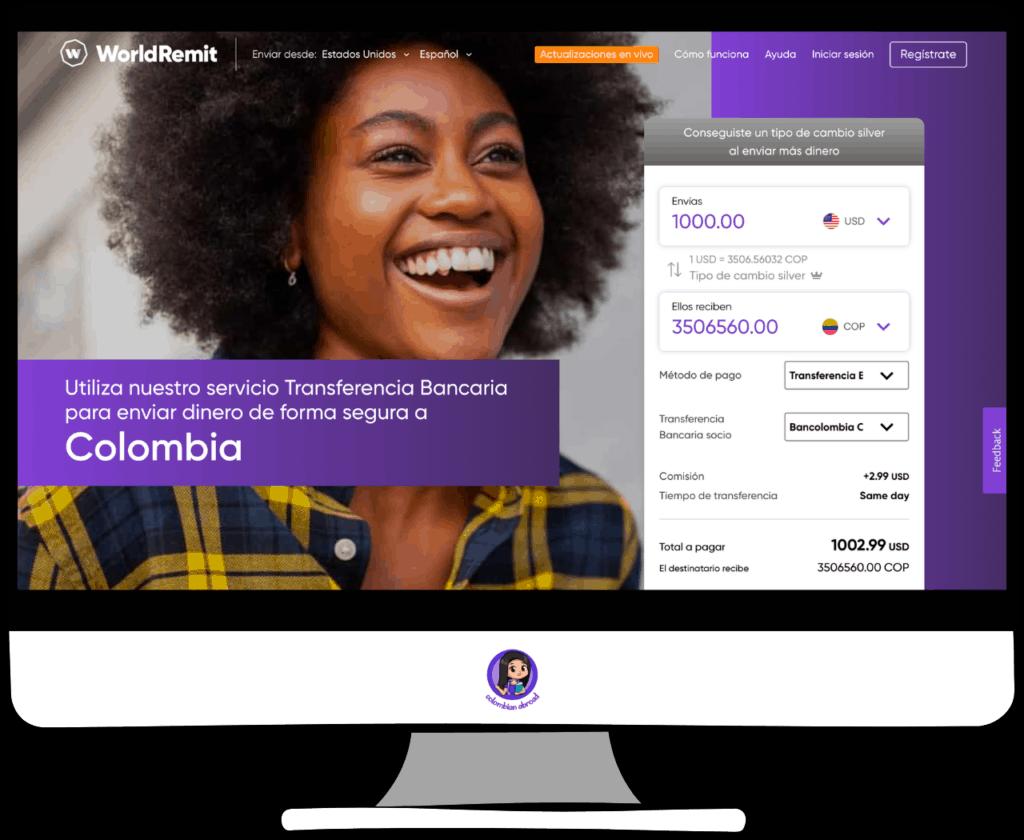 WorldRemit enviar dinero de USA a Colombia